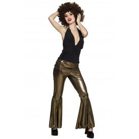 Flare pants M stretch goud
