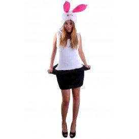 Kostuum konijn wit uit hoge hoed dames