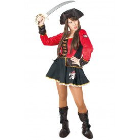 Pirate jurkje rood/zwart dames