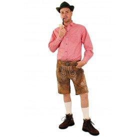 Tiroler trachten hemd rood/wit