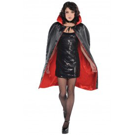 Cape rood/zwart omkeerbaar unisex one size