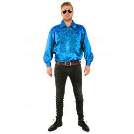 Ruches blouse fluor blauw