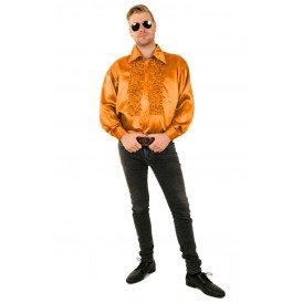Ruches blouse fluor oranje
