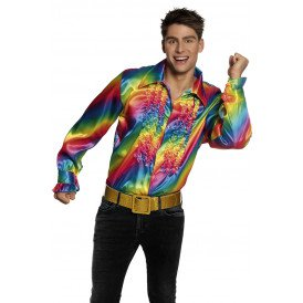 Ruches blouse regenboog heren