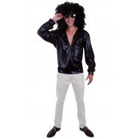 Glitter disco blouse zwart pailletten