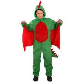 Draak kostuum groen/rood unisex