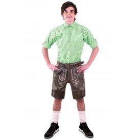 Tiroler blouse groen/wit heren