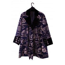 Mantel Brokaat Blauw/Goud luxe