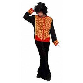 Michael jackson jas zwart/rood met gouden bies heren