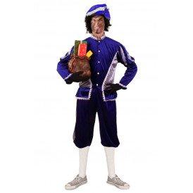 Piet kostuum Blauw Zilver