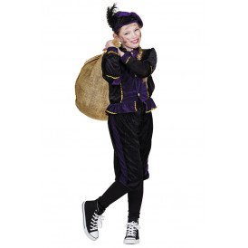 Piet kostuum paars/zwart unisex kinderen