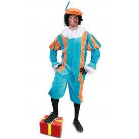 Piet kostuum Diego turquoise/oranje unisex