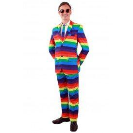 Regenboog kostuum 3-delig heren