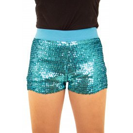 Hotpants met pailletten turquoise