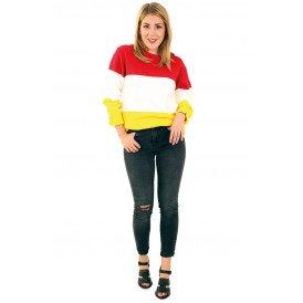 Gebreide sweater rood wit geel gestreept