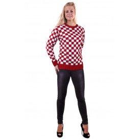Gebreide trui rood/wit geblokt unisex
