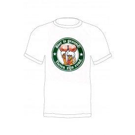 T-shirt bierviltje 'Bier is gezond en tieten zijn rond'