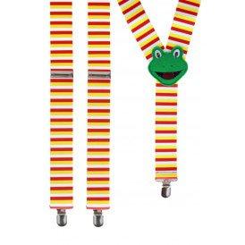 Bretels 35 mm breed rood/wit/geel met kikker