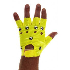 Punk handschoen fluor geel