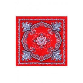 Zakdoek rood waaier bloem 63 x 63 cm.