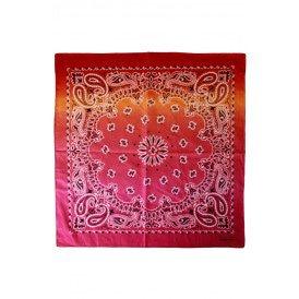 Zakdoek met kleurverloop rood/oranje/roze 56 x 56 cm