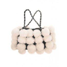 Schoudertas bont met witte bollen