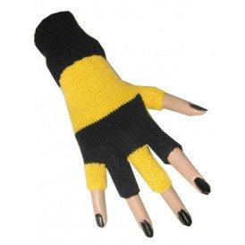 Vingerloze handschoen zwart/geel