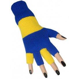 Vingerloze handschoen blauw/geel