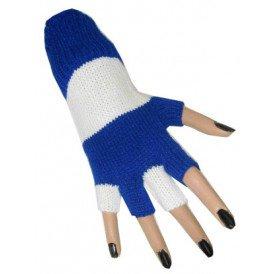 Vingerloze handschoen blauw/wit