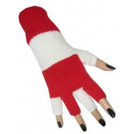 Vingerloze handschoen rood/wit