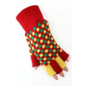 Vingerloze handschoen rood/geel/groen geblokt