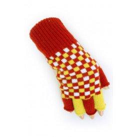 Vingerloze handschoen rood/wit/geel geblokt