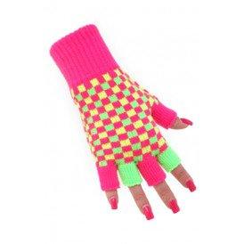 Vingerloze handschoenen neon roze/groen