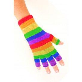 Vingerloze handschoen regenboog gestreept