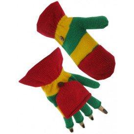 Vingerloze handschoen rood/geel/groen met kapje