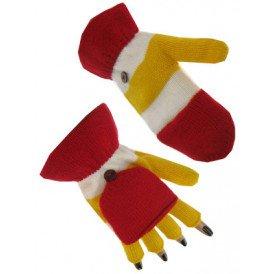Vingerloze handschoen rood/wit/geel + kapje