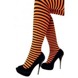 Panty streep oranje/zwart one size