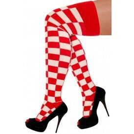 Lange sokken rood/wit geblokt
