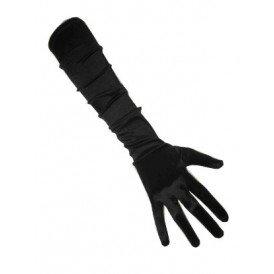 Handschoenen satijn zwart 48 cm