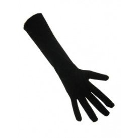 Handschoenen stretch zwart luxe nylon 32 cm (Piet) XS