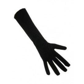 Handschoenen stretch zwart luxe nylon 35 cm (Piet) S