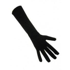 Handschoenen stretch zwart luxe nylon 37 cm (Piet) M