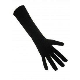Handschoenen stretch zwart luxe nylon 40 cm. (Piet)