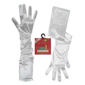 Handschoenen satijn stretch wit luxe 60 cm L