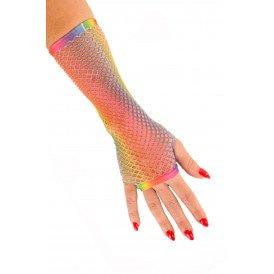 Nethandschoen lang vingerl regenboo