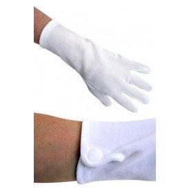 Handschoen wit kort met drukknoopjes katoen
