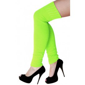 Dames knee-over beenwarmers fluor groen