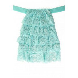 Jabot kant luxe turquoise