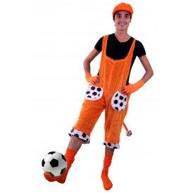 Tuinbroek oranje voetbal met staart