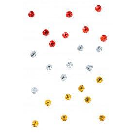 Swarovski steentjes rood-wit-geel